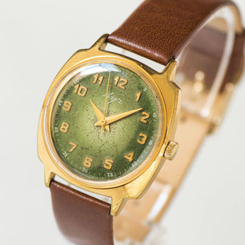 Mechanical men's wristwatch Ray, round dial gold plated watch, gent's watch forest green caramel, premium leather strap new