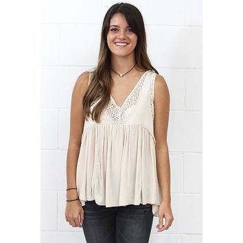 T-Back Lace Accent Tank {Stone} - Size LARGE