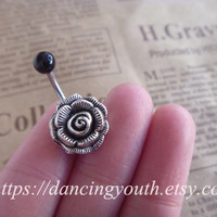 Belly Button Ring, Beatiful Rose Flower Belly Button Ring,  Rose Belly Ring,