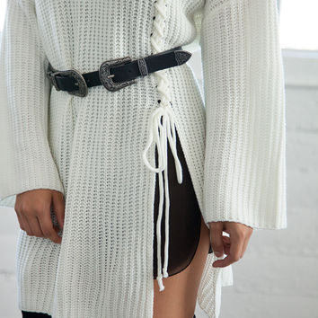 Oversized Slit Knit Sweater