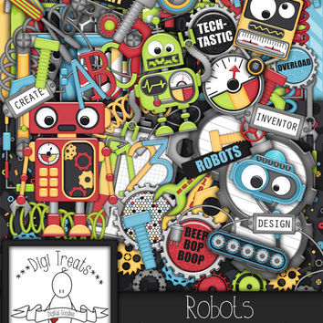 Robots Digital Scrapbook Kit.  Robot Themed Scrapbook Kit, Digital Papers, Clip Art, Word Tags and More. **INSTANT DOWNLOAD***