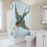 bird with a note shower curtain