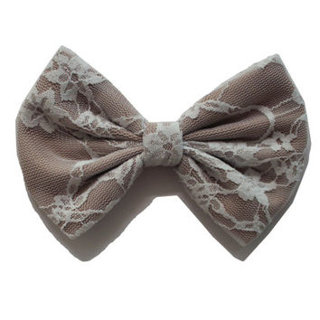 Taupe Lace Hair Bow