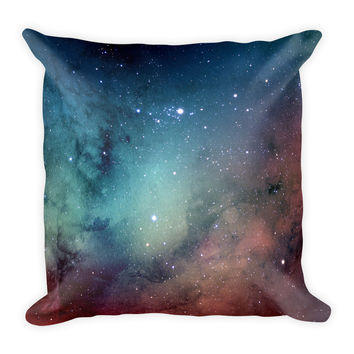 Galaxy Space Blue Red Decorative Throw Pillow 18x18