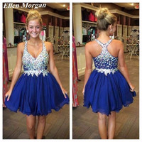 Royal Blue Sparkling Cheap Cocktail Dresses 2017 Sexy Chiffon Above Knee Chiffon See Through Mini Straps Party Custom For Women