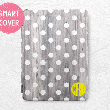 Polka Dots personalized Smart Cover wood print Monogram custom initial name case for iPad Air, iPad Air 2 -W7
