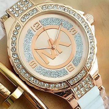 ac NOVQ2A MK MICHAEL KORS Fashion Woman Casual Quartz Movement Watch Wristwatch F-Fushida-8899 Rose gold