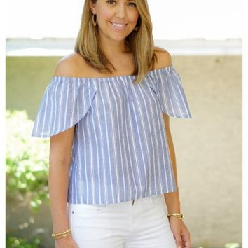 Blue and white stripes off the shoulder top | Shannon | escloset.com