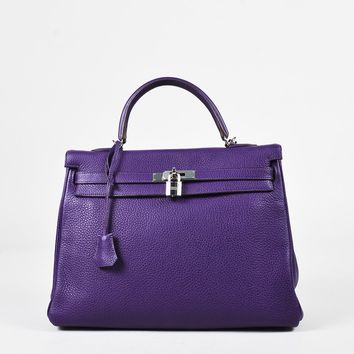 "Hermes ""Iris"" Purple ""Clemence"" Leather ""Kelly Retourne 35"" Bag"