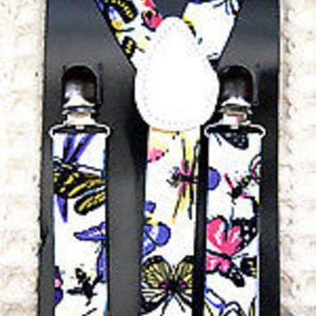PURPLE TUXEDO ADJUSTABLE BOW TIE+COLORFUL BUTTERFLIES BEES  SUSPENDERS COMBO