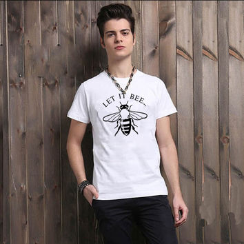 Letter It Bee Letter and Emoji Bee Sign Print Men T Shirts Cotton Male T-shirt Man Top Tee Shirt Boys Clothing Punk Rock Hippie