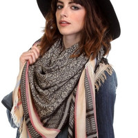 Print and Stripes Square Frayed Scarf - Black or Gray