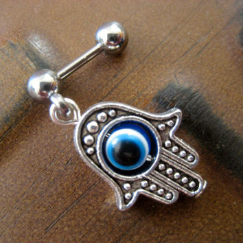 Hand of Fatima Tragus Earring- Ear Piercing Barbell Bar Ring Post Stud Hamsa Evil Eye Eyeball Charm 16g 16 G Gauge
