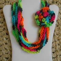 color: Rockerchick // Girls Scarf Necklace Neon Rainbow Black with Flower, Kids, Child