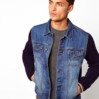 ASOS Denim Jacket With Knitted Sleeves