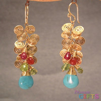 "Hammered swirls with pink ruby, mandarin garnet, peridot, and sleeping beauty turquoise, 2-1/2"" Earring Gold Or Silver"