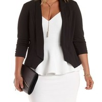 Plus Size Black Textured Open Front Blazer by Charlotte Russe