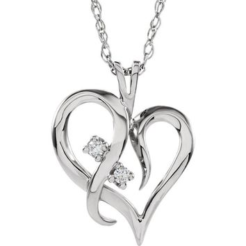 14k White Gold 2 Stone Diamond Heart Necklace