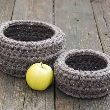 Rustic Home Decor - Storage Basket Set - Nesting Baskets - Modern Home Decor - Crochet Baskets - Fruit Baskets - Woven Storage Baskets