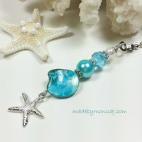 Ceiling Fan or Light Pull for a Aqua Blue Home Decor.  Housewarming Present.  Starfish Fan Pull.