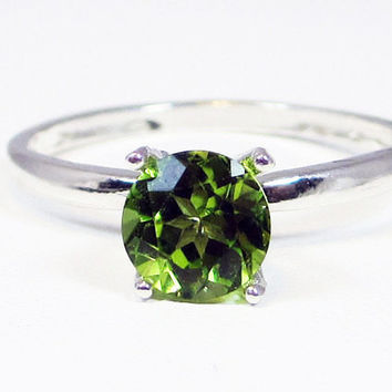 Large Peridot Solitaire Ring Sterling Silver, August Birthstone Ring, Peridot Gemstone Ring, Sterling Silver Peridot Solitaire Ring