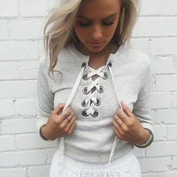 Ladies Alien O-neck  Grey Streetwear sweater
