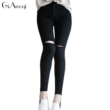 High Waist Skinny Fashion Boyfriend Jeans for Women Hole Vintage Girls Slim Ripped Denim Pencil Pants