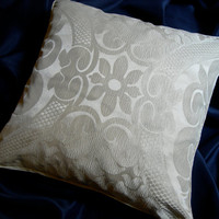 Rubelli Sir Francis Ivory Crinkled Damask Fabric Throw Pillow Cushion Cover - Handmade in Italy