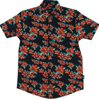 Grizzly Tropical High Button Up Tee Medium Black