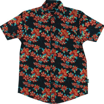Grizzly Tropical High Button Up Tee Large Black