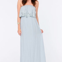 LULUS Exclusive Born Free Light Blue Strapless Maxi Dress