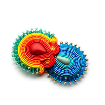 Rainbow soutache brooch green yellow red blue pink purple fall jewelry gold bijoux broche spilla iris cadeau de Noël Christmas gift