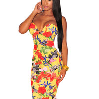 Yellow Floral Print Plunging Strapless Midi Dress