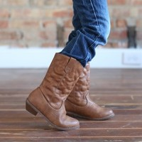 Tan Designed Stitched Cowgirl Boots - Ryleigh Rue Clothing by MVB