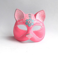 Pink Cat: Hand painted plastic cat mask Electric Pink and white cat Cat face Masquerade mask