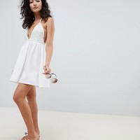 ASOS DESIGN Bridal Bead Embellished Plunge Beach Dress at asos.com