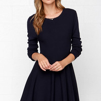 Glamorous Fair Weather Navy Blue Sweater Dress