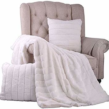 "BOON Rabbit Fur Throw with 2 Pillow Combo Set, 60"" x 80"", Bright White"
