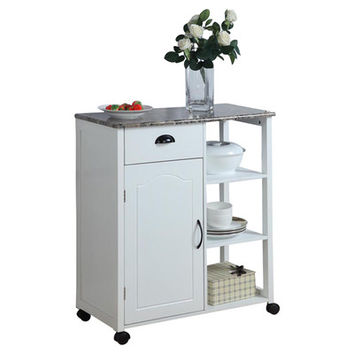 Andover Mills Kitchen Cart with Marble Top
