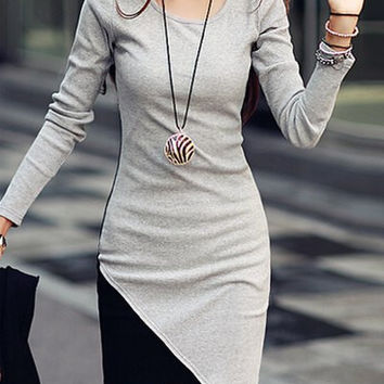 Gray Long Sleeve Assymetric Mini Dress
