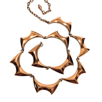 Renoir Copper Necklace, Modernist Collar Necklace, Bat Wing Links, Signed Renoir Copper Jewelry, 1950s, Fall Vintage Jewelry
