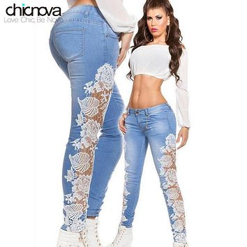 Sexy Women's low waist Lace washed Denim Jeans Hollow out Crochet jeans pencil Pants for women FS0030