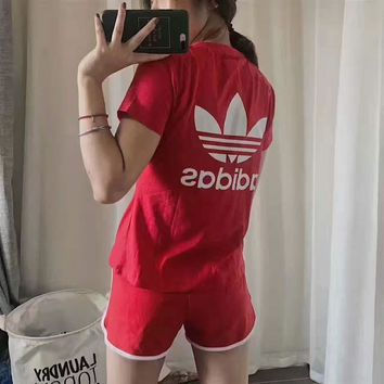 Adidas Women Fashion Print Short sleeve Top Shorts Pants Sweatpants Set Two-Piece Spor
