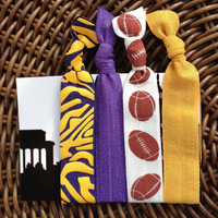 PURPLE/GOLD NFL Football Elastic Hair Ties (and bracelets) Collection