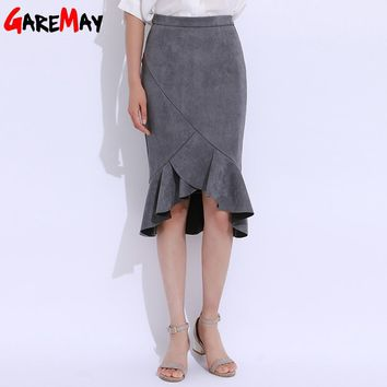Leather Skirt Women Midi Skirt  Hip High Waist Elegant Skirts Ladies Office