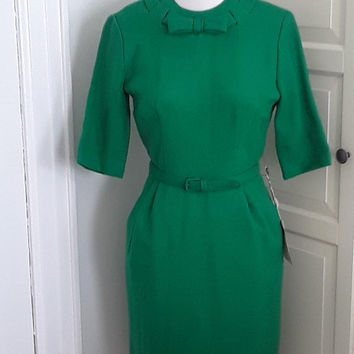 1950s Deadstock Wiggle Dress, Green, Short Sleeves, Bow Detail, NWT, Size Small, 36B/26W