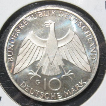1972 G German Deutschland Silver Proof 10 Ten  Mark  62.5% Silver Coin Commemorating the Munich Summer Olympic Games Low Mintage 125,000