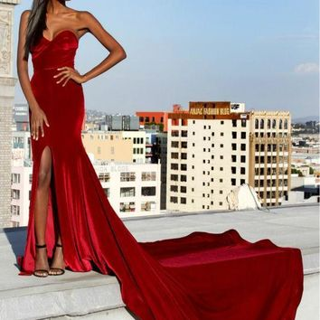 Red Velvet Mermaid Prom Dresses 2017 Sweetheart Sexy Split Long Train Elegeant Evening Party Dress Prom Gowns Simple Custom Made