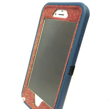 iPhone 6 (4.7 inch) OtterBox Defender Series Case Glitter Cute Sparkly Bling Defender Series Custom Case Deep water blue / red