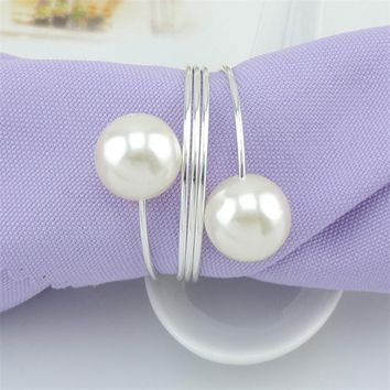 Elegant 12 Wedding Napkin Rings Hollow Floral Pearl Metal Napkin Buckle Holder Christening Bangle Party Decoration Supplies